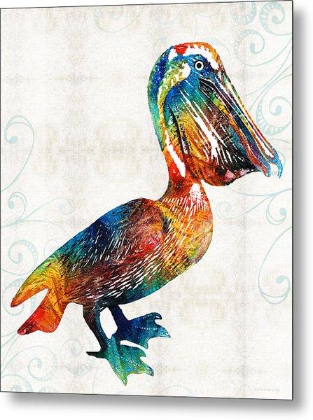 Colorful Pelican Art 2 By Sharon Cummings Metal Print