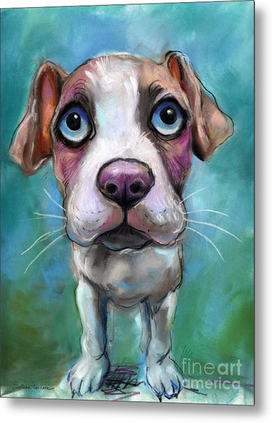 Colorful Pit Bull Puppy With Blue Eyes Painting  Metal Print