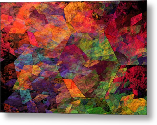 Colorful Psychedelic Abstract Fractal Art Metal Print