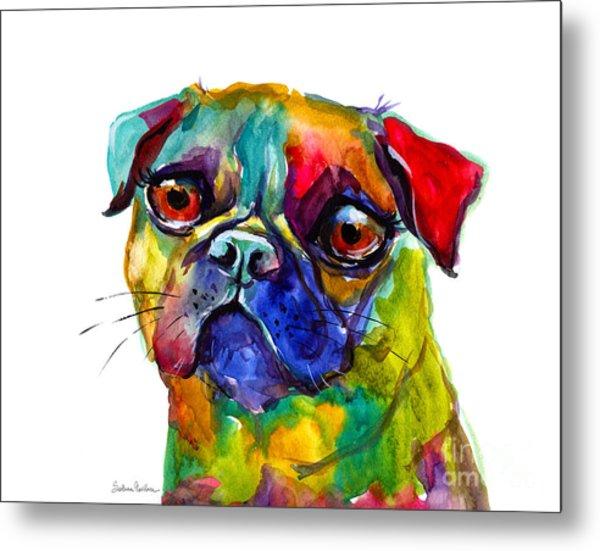 Colorful Pug Dog Painting  Metal Print