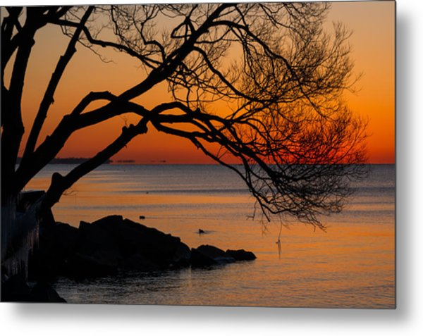 Colorful Quiet Sunrise On Lake Ontario In Toronto Metal Print