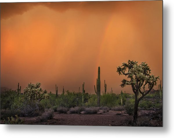 Colorful Rainbow With Dust Storm At Lost Dutchman State Park  Metal Print