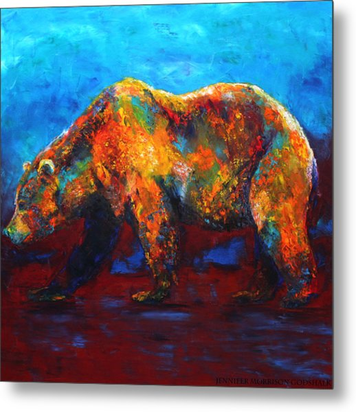 Colorful Reflections Bear Painting Metal Print