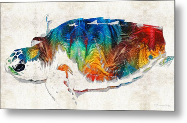 Colorful Sea Turtle By Sharon Cummings Metal Print