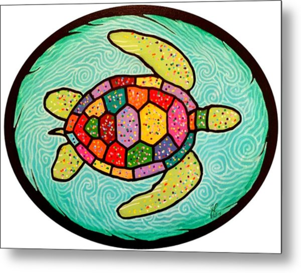 Colorful Sea Turtle Metal Print