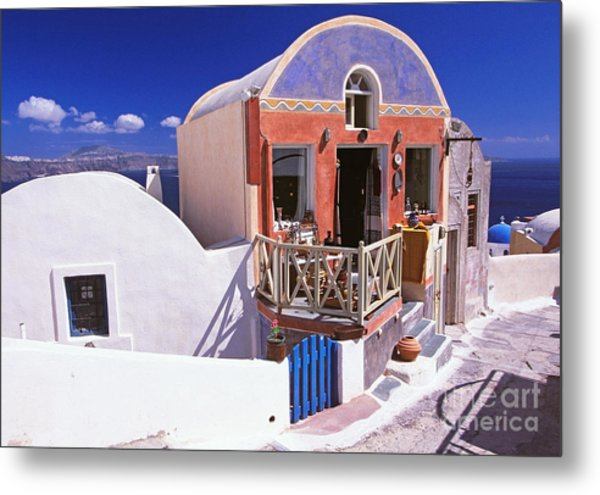 Colorful Shops In Oia Metal Print