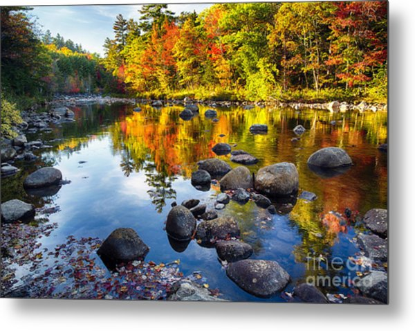 Colorful Trees Along The Swift River Metal Print by George Oze