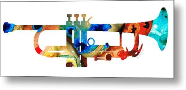 Colorful Trumpet Art By Sharon Cummings Metal Print