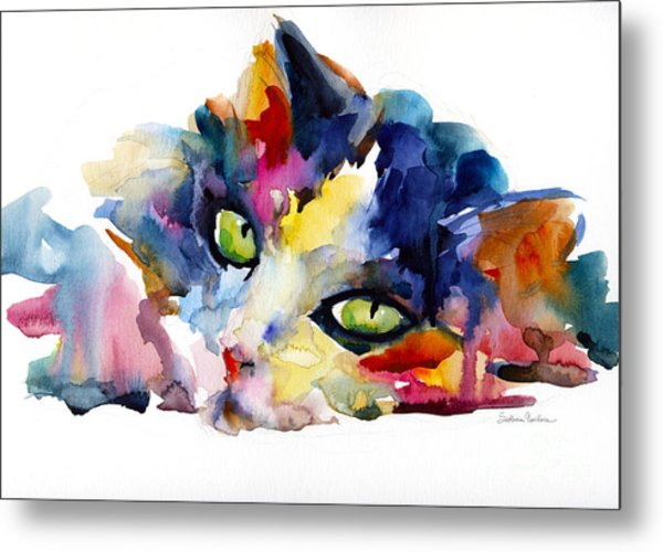 Colorful Tubby Cat Painting Metal Print