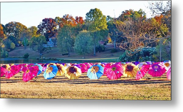 Colorful Umbrellas At The Park Metal Print