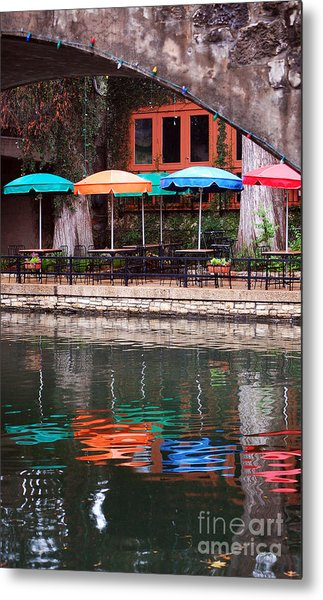 Colorful Umbrellas Reflected In Riverwalk Under Footbridge San Antonio Texas Vertical Format Metal Print