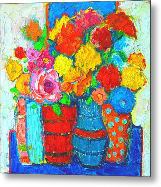 Colorful Vases And Flowers - Abstract Expressionist Painting Metal Print