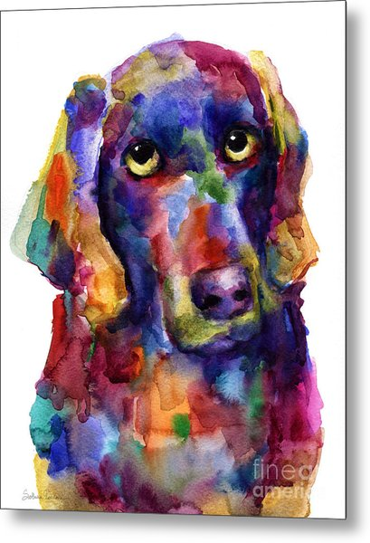 Colorful Weimaraner Dog Art Painted Portrait Painting Metal Print