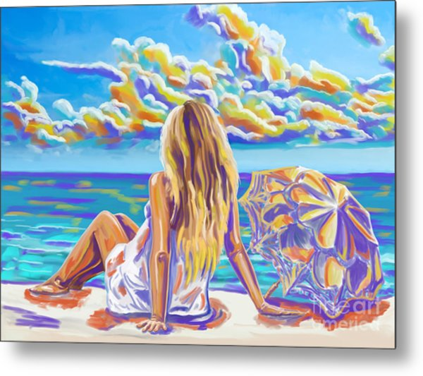 Colorful Woman At The Beach Metal Print