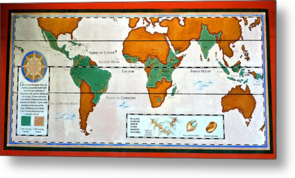 Colorful World Map Of Coffee Metal Print