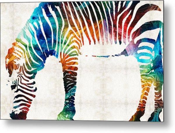 Colorful Zebra Art By Sharon Cummings Metal Print