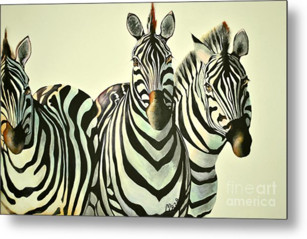 Colorful Zebras Painting Metal Print
