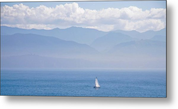 Colors Of Alaska - Sailboat And Blue Metal Print