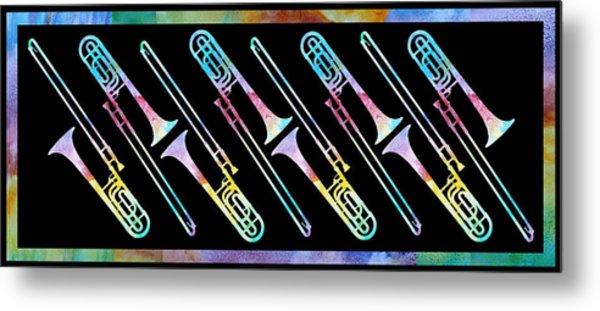 Colorwashed Trombones Metal Print