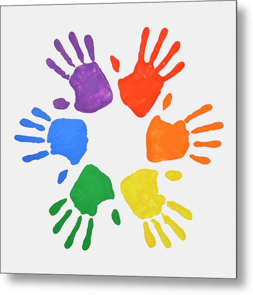 Coloured Handprints Facing Outwards Metal Print by David Malan