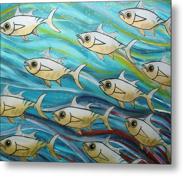 Coloured Water Fish Metal Print