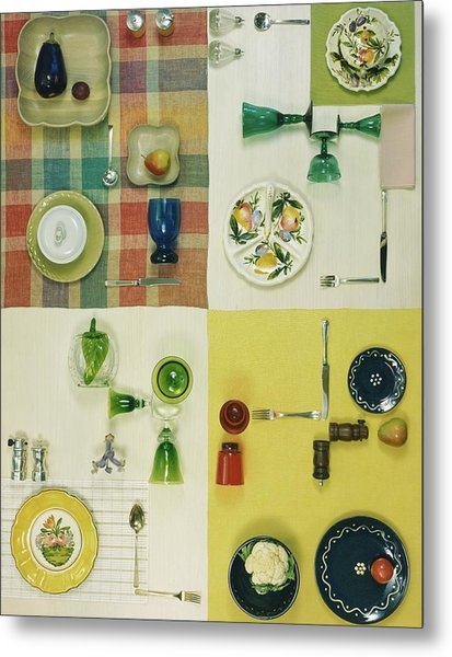 Colourful Table Settings Metal Print