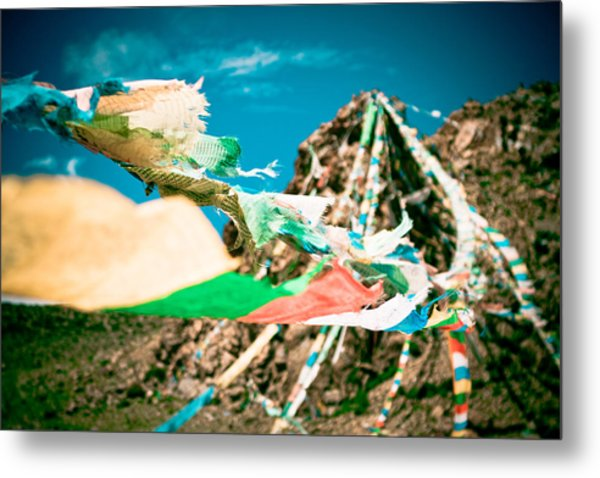 Colourfull Praying Buddhist Flags Lungta And Mountain At Background Metal Print