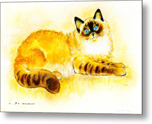 Colourpoint Cat Metal Print by Kurt Tessmann