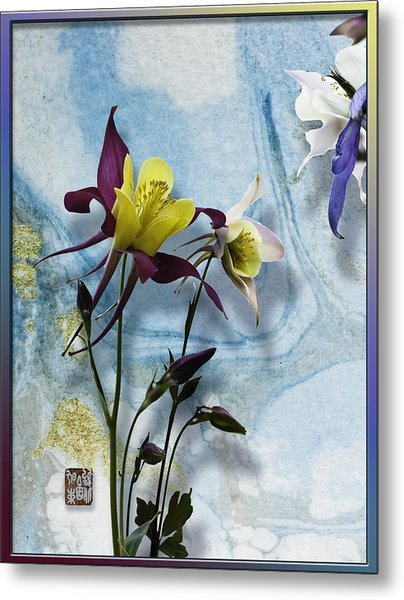 Columbine Blossom With Suminagashi Ink Metal Print