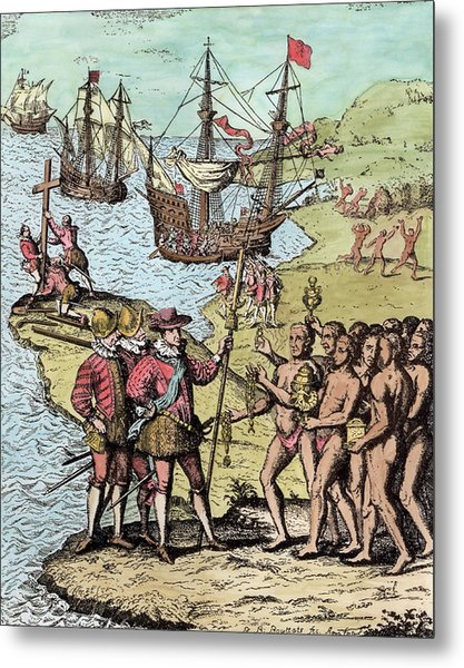 Columbus At Hispaniola, From The Narrative And Critical History Of America, Edited By Justin Metal Print