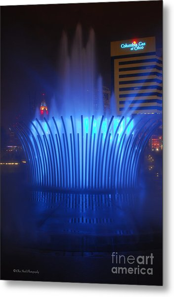 D101l-122 Scioto Mile Fountain Photo Metal Print
