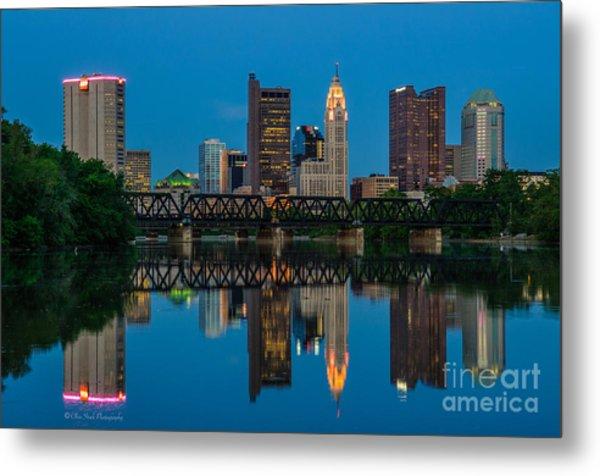 Columbus Ohio Night Skyline Photo Metal Print