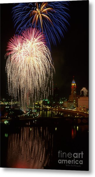 Columbus Red White And Boom Metal Print