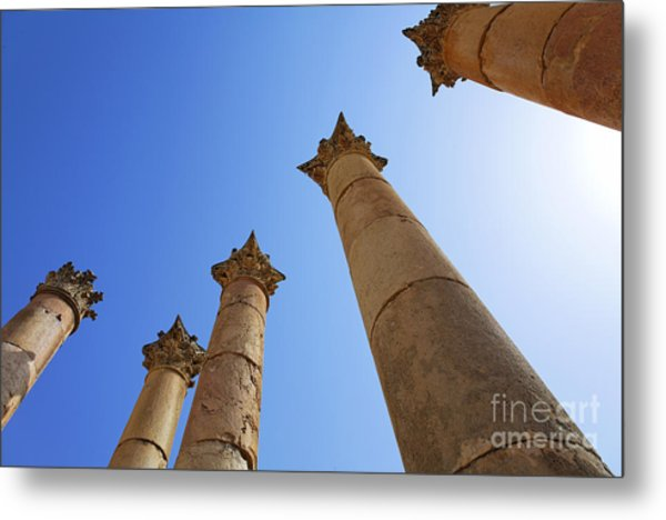 Columns At The Temple Of Artemis At Jerash Jordan Metal Print