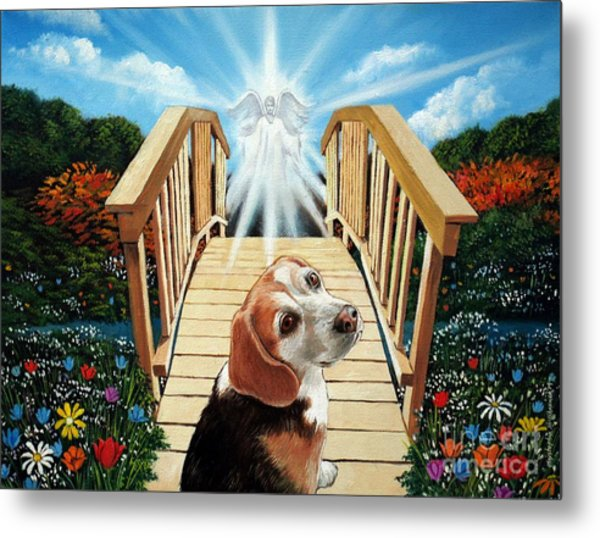 Come Walk With Me Over The Rainbow Bridge Metal Print