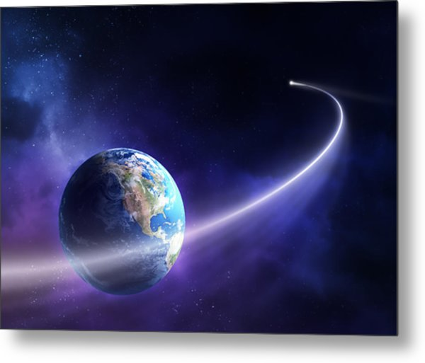 Comet Moving Past Planet Earth Metal Print