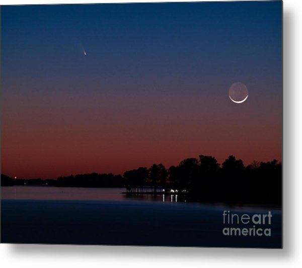 Comet Panstarrs And Crescent Moon Metal Print