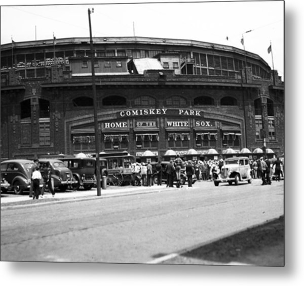 Comiskey Park Looms Metal Print
