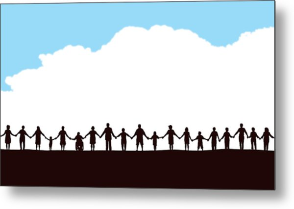 Community, People In A Row Holding Hands Metal Print by KeithBishop