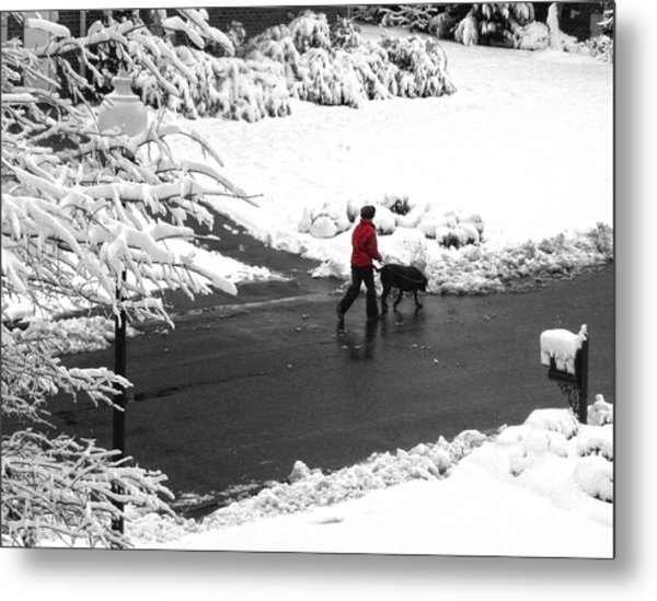 Companions Walking On Christmas Morning Metal Print