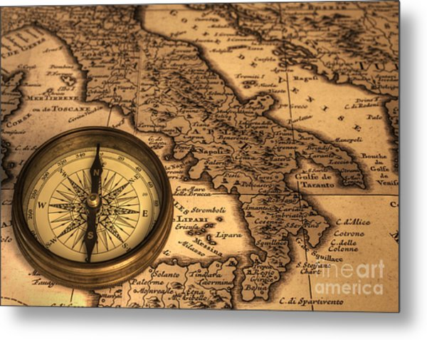 Compass And Ancient Map Of Italy Metal Print