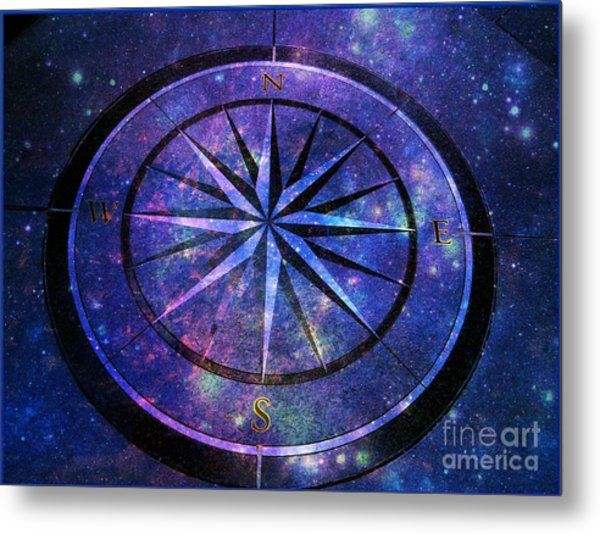 Compass With A Galaxy Metal Print