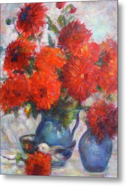 Complementary - Original Impressionist Painting - Still-life - Vibrant - Contemporary Metal Print