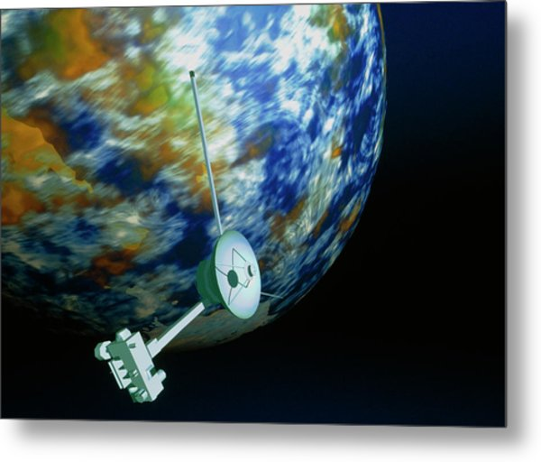 Computer Art Of Voyager Spacecraft Passing Planet Metal Print by Mehau Kulyk/science Photo Library