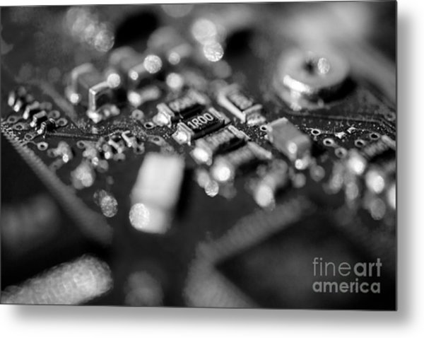 Computer Board Black And White Metal Print