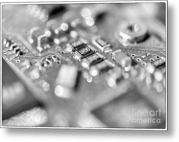 Computer Board High Key Black And White Metal Print
