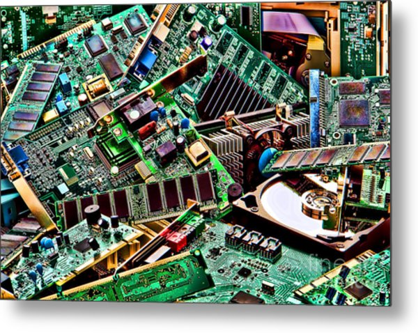 Metal Print featuring the photograph Computer Parts by Olivier Le Queinec