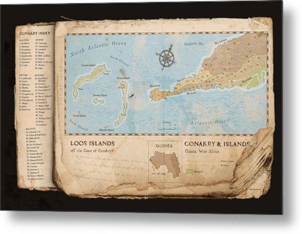 Conakry Map Metal Print by Dave Kobrenski