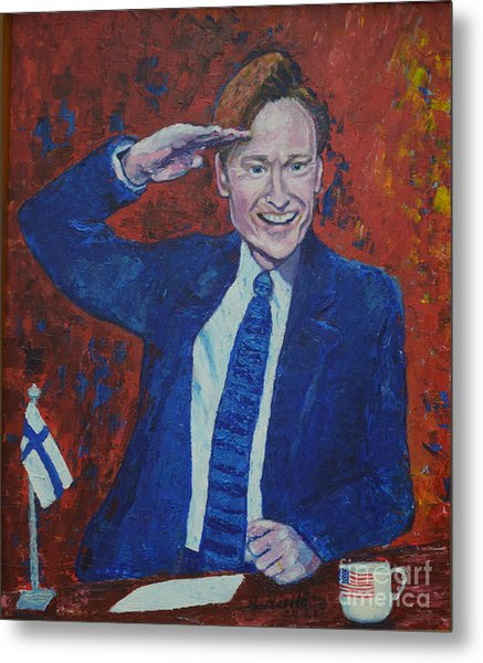 Conan O'brien Flagging Finland Metal Print