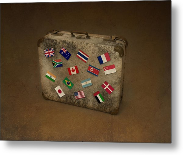 Conceptual Illustration Of Global Business Travel Metal Print by Fanatic Studio / Science Photo Library